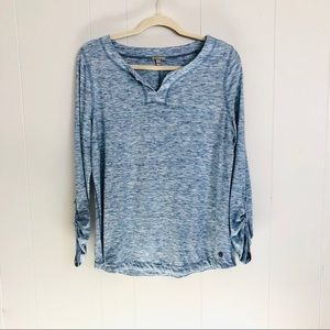 T by Talbots blue space dye v neck tab sleeve tee